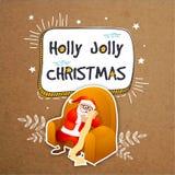 Carte de voeux avec Santa Claus pour Noël Photos stock