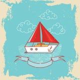 Carte de voeux avec un bateau de navigation dans le style de griffonnage Image libre de droits
