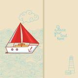 Carte de voeux avec un bateau de navigation dans le style de griffonnage Photo libre de droits
