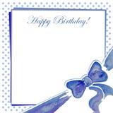 Carte de voeux avec un bleu d'arc Photo stock