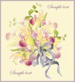 Carte de voeux avec un bouquet des orchidées. Photographie stock libre de droits