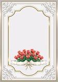 Carte de voeux avec un bouquet des roses Photographie stock