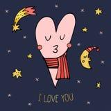 Carte de voeux avec un coeur mignon en ciel nocturne Image stock