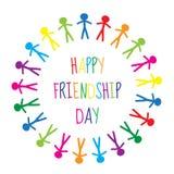 Carte de voeux avec un jour heureux d'amitié Personnes de carte de voeux tenant des mains, cercle Illustration de vecteur Image stock