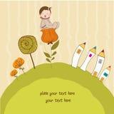Carte de voeux avec une chéri s'asseyant sur une fleur Photographie stock