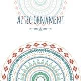 Carte de voeux aztèque de cercle d'ornement Conception tribale pour vos invitations Photo stock