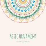 Carte de voeux aztèque de cercle d'ornement Conception tribale pour vos propres invitations Photo libre de droits