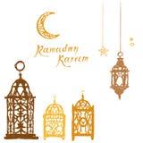 Carte de voeux blanche de Ramadan Kareem Photos stock