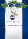 Carte de voeux bleue de vacances d'hiver dans la langue allemande Image libre de droits