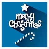 Carte de voeux bleue de Joyeux Noël avec la barre douce de bougie Photo stock