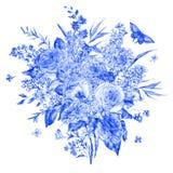 Carte de voeux bleue de roses et de lilas d'aquarelle Image stock