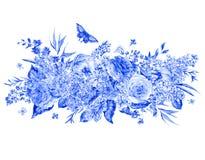 Carte de voeux bleue de roses et de lilas d'aquarelle Images libres de droits