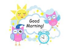 Carte de voeux bonjour avec les hiboux, le soleil, les nuages et le réveil Illustration de vecteur illustration stock