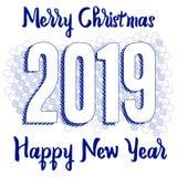 Carte de voeux 2019 de bonne année avec des nombres sur le fond fumeux Illustration de vecteur Conception d'insecte ou d'affiche  illustration stock