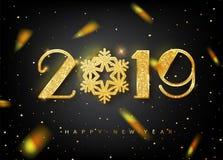Carte de voeux de 2019 bonnes années avec des nombres d'or sur le fond noir Illustration de vecteur Insecte de Joyeux Noël ou illustration stock