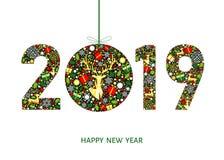 Carte de voeux de 2019 bonnes années avec la boule de Noël illustration de vecteur