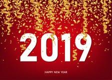 Carte de voeux de 2019 bonnes années avec les confettis d'or illustration libre de droits