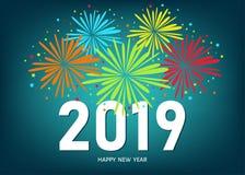 Carte de voeux de 2019 bonnes années avec les feux d'artifice colorés illustration de vecteur