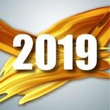 Or carte de voeux de 2019 bonnes années Bannière avec 2019 nombres illustration d'an neuf de vecteur Brosse acrylique d'or illustration de vecteur