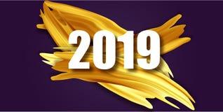 Or carte de voeux de 2019 bonnes années Bannière avec 2019 nombres illustration d'an neuf de vecteur Brosse acrylique d'or illustration stock