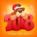 Carte de voeux de 2018 bonnes années Fond de célébration avec le caractère drôle de chien Illustration de Vecteur