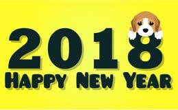 Carte de voeux de 2018 bonnes années Fond de célébration avec le chien 2018 nouvelles années chinoises du chien Illustration de Vecteur