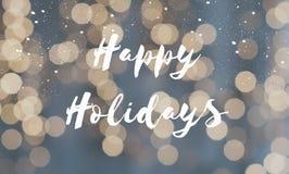 Carte de voeux bonnes fêtes avec les lumières de Noël defocused photographie stock