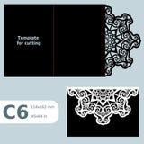 Carte de voeux C6 à jour de papier, invitation de mariage, calibre pour la coupure illustration libre de droits