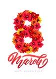 Carte de voeux de calibre de vecteur 8 mars décor de la calligraphie de fleurs de printemps rouge marquant avec des lettres le jo photos stock