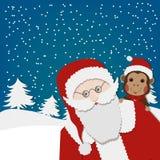 Carte de voeux, carte de bonne année avec Santa Claus et singe Images libres de droits