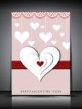 Carte de voeux, chèque-cadeau ou fond heureux de jour de Valentines. ENV Photo stock