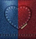 Carte de voeux de coeur de jeans, je t'aime fond vide bleu rouge de calibre de Valentine photographie stock libre de droits