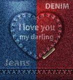 Carte de voeux de coeur de jeans, je t'aime vecteur bleu rouge de Valentine photo libre de droits