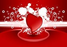 Carte de voeux créatrice de Valentine avec le coeur dans la couleur rouge, vecteur Photos stock