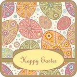 Carte de voeux décorative avec l'oeuf de pâques Images stock