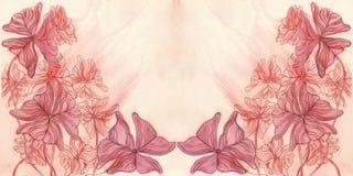 Carte de voeux décorative d'aquarelle avec les feuilles pourpres Photo libre de droits