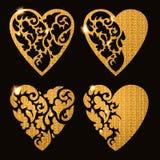 Carte de voeux décorative de Valentine avec des coeurs de scintillement Image libre de droits