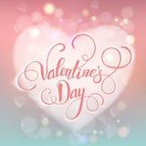 Carte de voeux décorative de Valentine avec les coeurs et le lettrage fleuris floraux Images stock