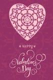 Carte de voeux décorative de Valentine avec les coeurs et le lettrage fleuris floraux Photographie stock libre de droits