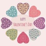 Carte de voeux décorative de Valentine avec les coeurs fleuris floraux Photo libre de droits