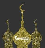Carte de voeux d'or d'étincelle de Ramadan Kareem illustration libre de droits