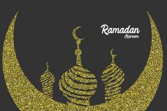 Carte de voeux d'or d'étincelle de Ramadan Kareem illustration stock