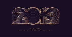 Carte de voeux 2019 d'affaires de Joyeux Noël et de bonne année illustration de vecteur