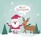 Carte de voeux d'affiche de nouvelle année de Santa Clause With Reindeer Happy de Joyeux Noël illustration libre de droits