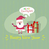 Carte de voeux d'affiche de Santa Clause Happy New Year de Joyeux Noël Photos libres de droits