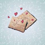 Carte de voeux d'amour de Saint-Valentin avec les coeurs et le boîte-cadeau illustration de vecteur