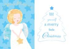Carte de voeux d'ange de Noël Image stock