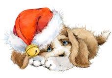 Carte de voeux d'année de chien illustration mignonne d'aquarelle de chiot Image libre de droits