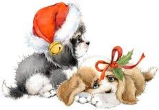 Carte de voeux d'année de chien illustration mignonne d'aquarelle de chiot Photo libre de droits