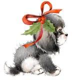 Carte de voeux d'année de chien illustration mignonne d'aquarelle de chiot Photographie stock